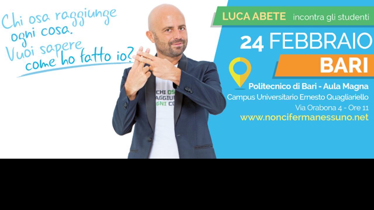 #Noncifermanessuno tour con Luca Abete fa tappa al Politecnico di Bari